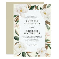 modern magnolia floral wedding invitation