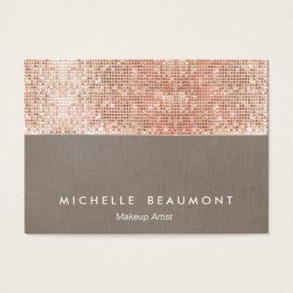 Modern Makeup Artist  Faux Rose Gold Sequins Business Card