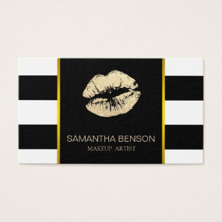 Modern Makeup Artist Gold Glitter Lips Salon Business Card