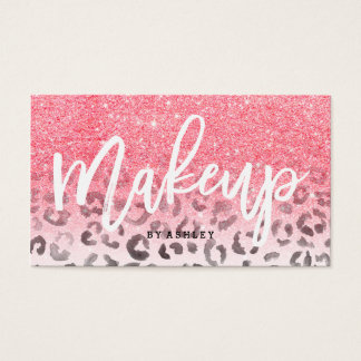 Modern makeup faux pink glitter leopard watercolor business card