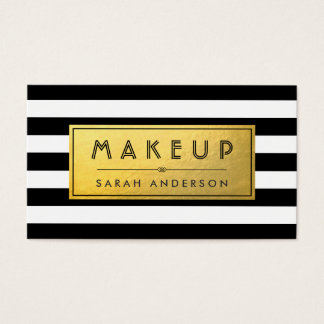 Modern Makeup - Gold Label and Black White Stripes Business Card