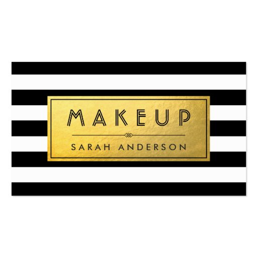 Modern Makeup - Gold Label and Black White Stripes Double-sided Standard Business Cards (pack Of 100)