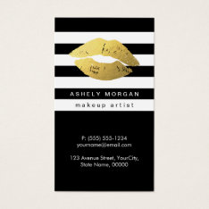 Modern Makeup Gold Lips - Chic Black White Stripes Business Card at Zazzle