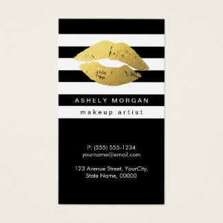 Modern Makeup Gold Lips - Chic Black White Stripes Business Card