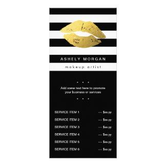 Modern Makeup Gold Lips - Chic Black White Stripes Rack Card Design