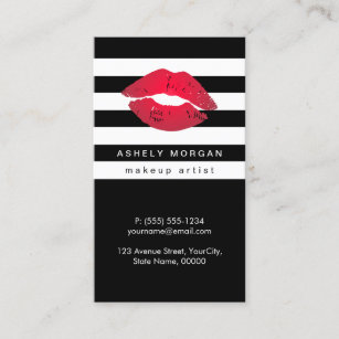 Red business cards templates zazzle modern makeup red lips chic black white stripes business card colourmoves