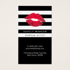 Modern Makeup Red Lips - Chic Black White Stripes Business Card at Zazzle