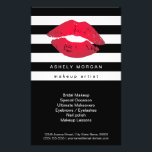 """Modern Makeup Red Lips - Chic Black White Stripes Flyer<br><div class=""""desc"""">Modern Makeup Red Lips - Chic Black White Stripes Flyer.  (1) For further customization,  please click the &quot;customize further&quot; link and use our design tool to modify this template.  (2) If you need help or matching items,  please contact me.</div>"""