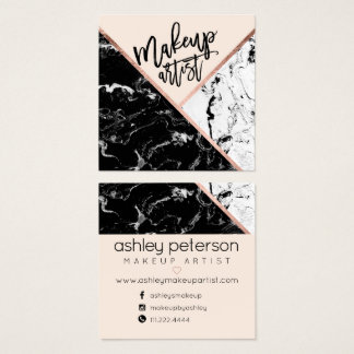 Modern makeup typography rose marble color block 2 square business card