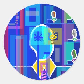 Modern man in blue transparent round stickers