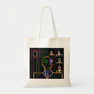 Modern man in neon budget tote bag