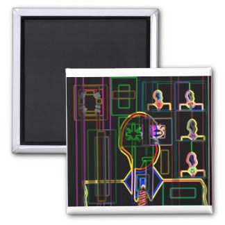 Modern man in neon 2 inch square magnet
