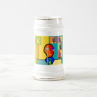 Modern man on yellow and blue 18 oz beer stein