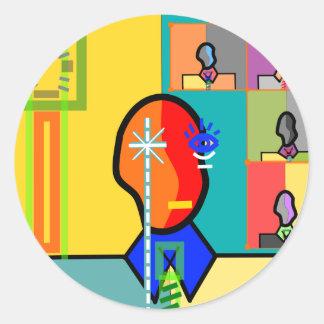 Modern man on yellow and blue round sticker