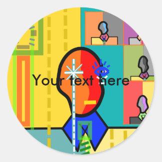 Modern man on yellow background stickers