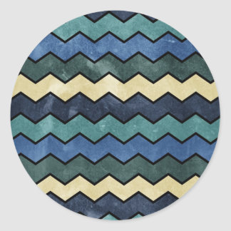 Modern Manly Blue Chevrons Classic Round Sticker