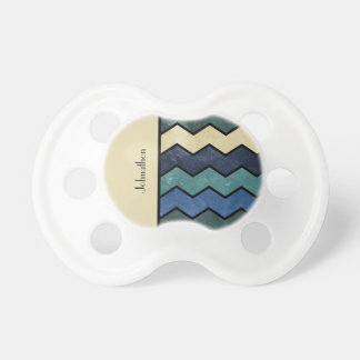 Modern Manly Blue Chevrons With Name Pacifier