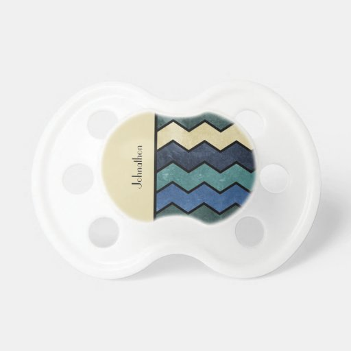 Modern Manly Blue Chevrons With Name Baby Pacifiers