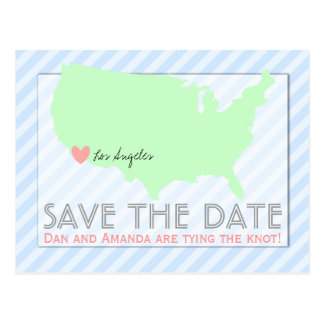 Modern Map Save the Date Postcard