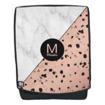 Modern Marble and Rose Gold Pattern with Monogram Backpack
