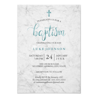 Modern baptism invitations announcements zazzle modern marble blue baptism invitation stopboris Choice Image