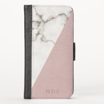 Modern Marble Faux Blush Vegan Leather Look iPhone X Wallet Case