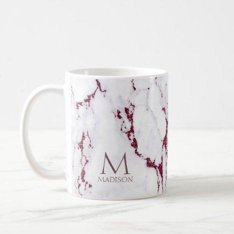 Modern Marble Glitter Monogram Burgundy ID816 Coffee Mug