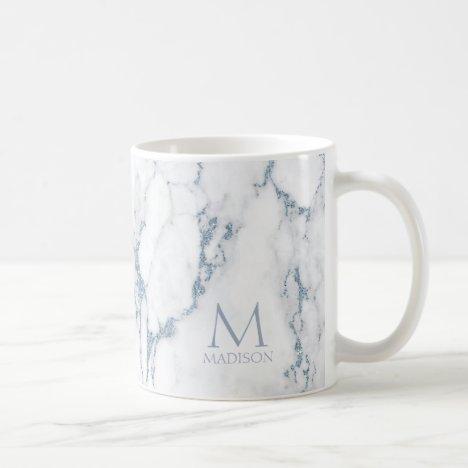 Modern Marble Glitter Monogram Dusty Blue ID816 Coffee Mug