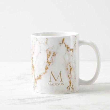 Modern Marble Glitter Monogram Gold ID816 Coffee Mug