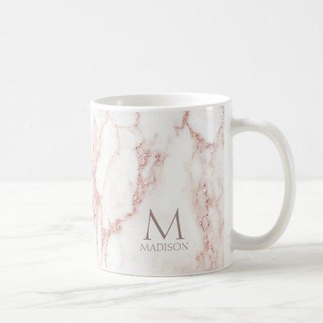 Modern Marble Glitter Monogram Rose Gold ID816 Coffee Mug