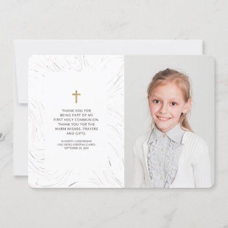 Modern Marble Gold Cross Photo Communion Thank You