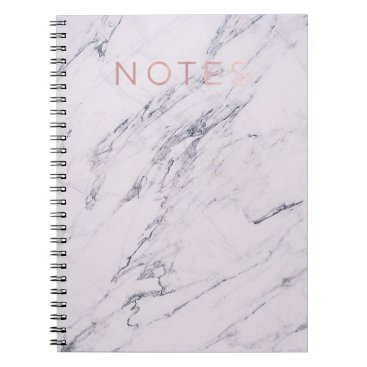 Wedding Themed Modern Marble Grey White & Rose Gold Pink Notes Notebook