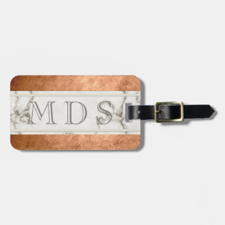 Modern Marble Monogram Faux Copper Bag Tag