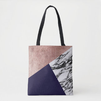 Modern Marble Rose Gold and Navy Blue Tricut Geo Tote Bag