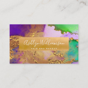 Modern marble watercolor, gold purple aqua green business card