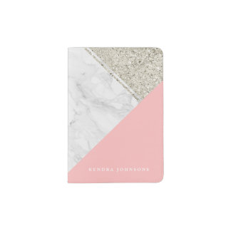 Modern Marble with Pink & Faux Silver Glitter Passport Holder