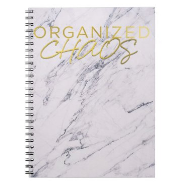Wedding Themed Modern Marble Yellow Gold Organized Chaos Notebook