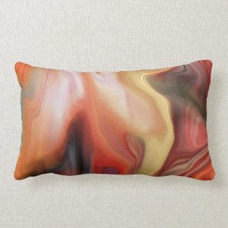 Modern Marbled Abstract | orange russet peach Lumbar Pillow