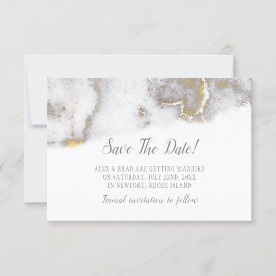 Modern Marbled Gray and Gold Wedding Save The Date