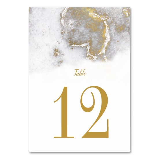 Modern Marbled Gray and Gold Wedding Table Cards