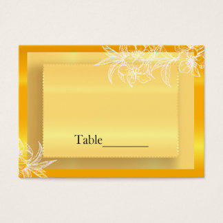 Modern Marigold Yellow & White Floral Stamp Business Card