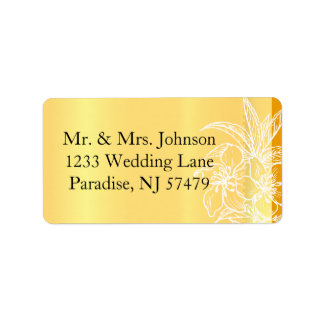 Modern Marigold Yellow & White Floral Stamp Label
