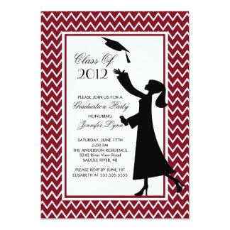 Modern Maroon Graduation Invitation Silhouette