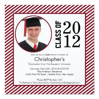 Modern Maroon Stripes Photo Graduation invitation