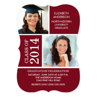 Modern Maroon & White Photo Graduation Invitation