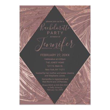 Wedding Themed Modern Marsala Rose Gold Marble Swirl Bachelorette Card