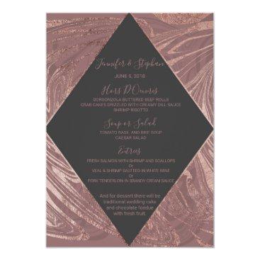 Wedding Themed Modern Marsala Rose Gold Marble Swirl Wedding Menu Card