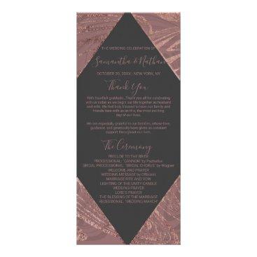 Wedding Themed Modern Marsala Rose Gold Marble Wedding Programs