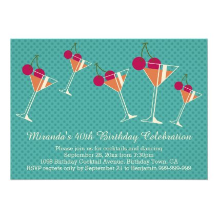 Modern Martini Cocktail 40th Birthday Party Personalized Announcement