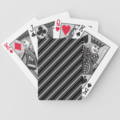 Modern Masculine Black, White and Grey Stripes Bicycle Playing Cards